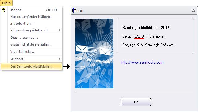 Här ser du aktuellt versionsnummer för din MultiMailer