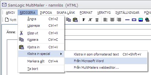 Klistra in special - Från Microsoft Word