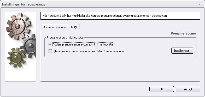 Dialogrutan Inställningar för registreringar