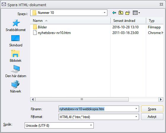 Spara HTML-dokument