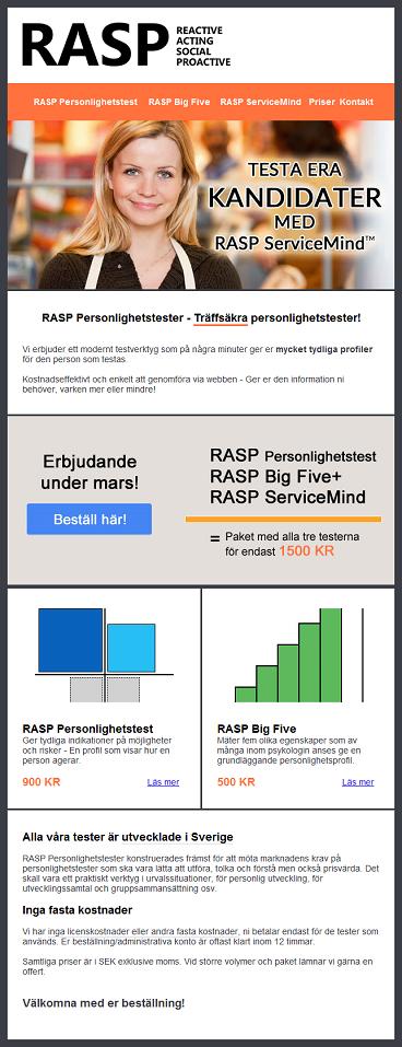 Exempel på ett nyhetsbrev med information om RASP Personlighetstest som Novae Veritates har skickat till sina kunder