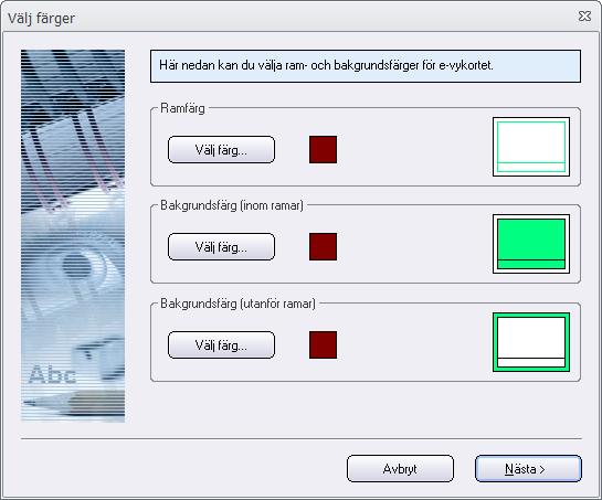 E-vykortsguide - Välj färger