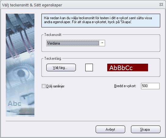 E-vykortsguide - Välj teckensnitt mm