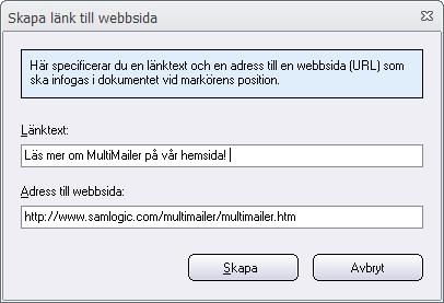 Dialogrutan 'Skapa länk till webbsida'