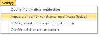Image Resizer kan öppnas direkt i MultiMailer
