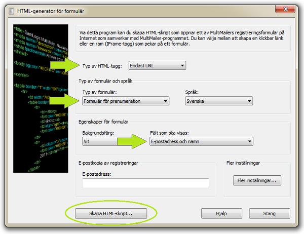 HTML-generator för registreringsformulär