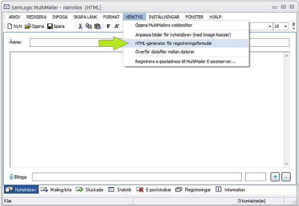 Menyalternativet Verktyg - HTML-generator för registreringsformulär