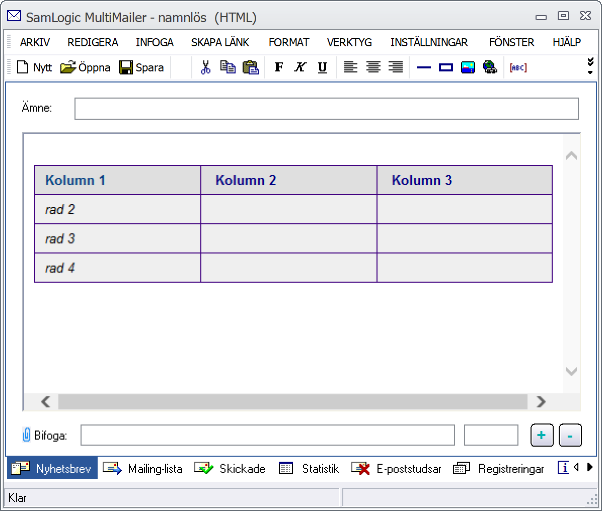 Tabell i MultiMailer