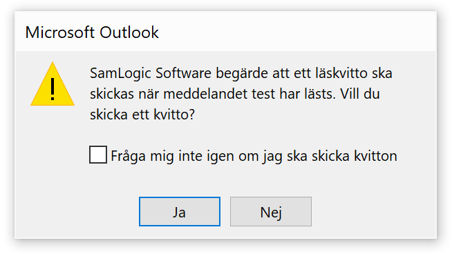 Outlook - Läskvitto