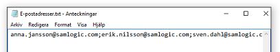 Semikolonavgränsade e-postadresser